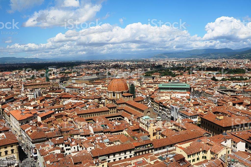 View to Mercato centrale and Basilica San Lorenzo, Florence Italy stock photo