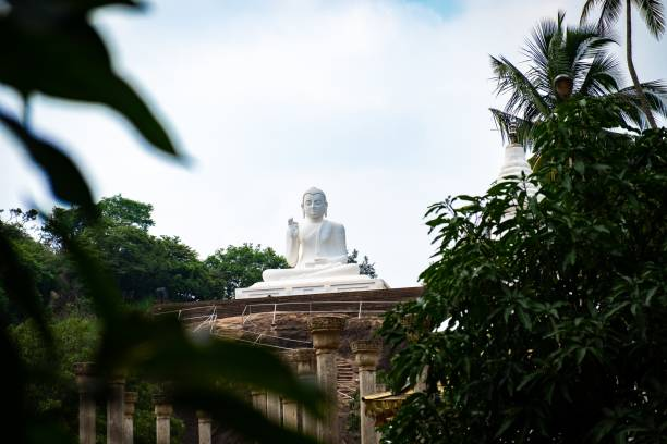 View to Mihintale buddha statue stock photo