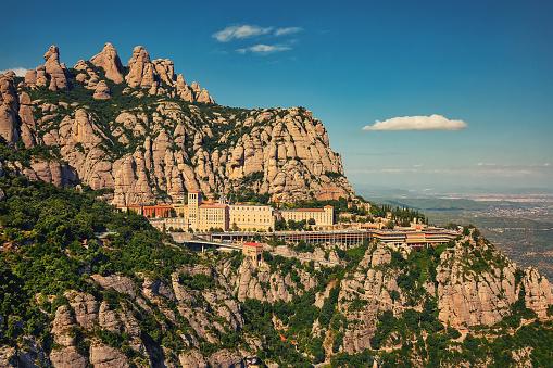 View to Montserrat Monastery in Monserrat Natural park in Catalonia, Spain