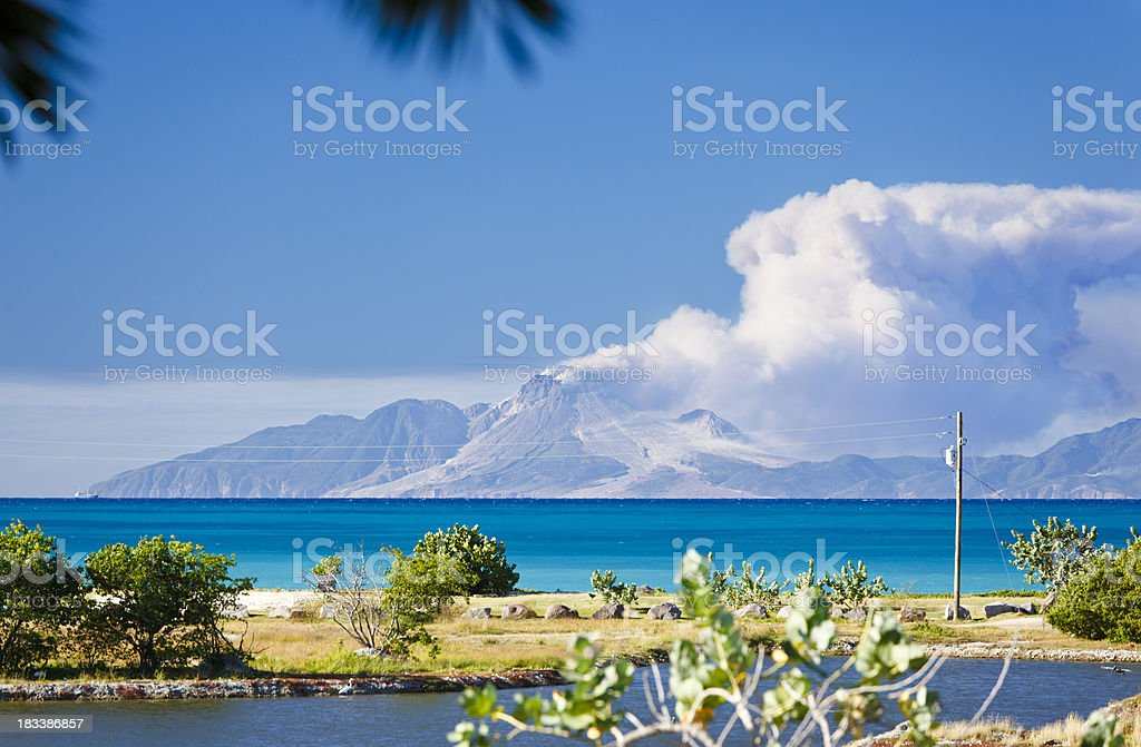 View To Montserrat With Caribbean Foreground stock photo