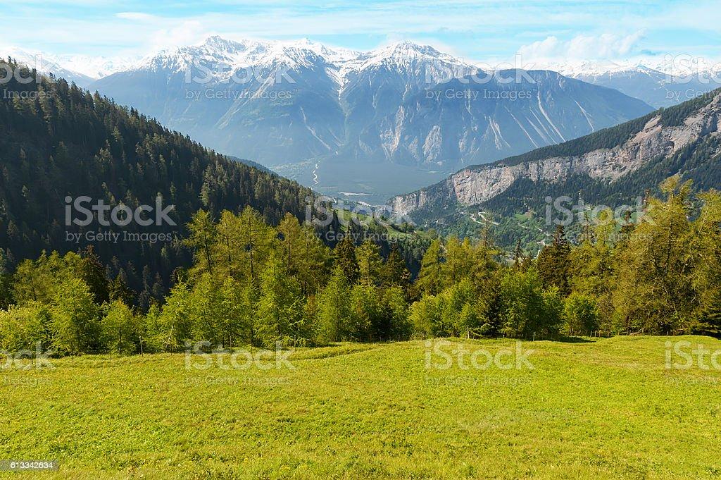View to mountain Schwarzhorn on Bernese Alps stock photo