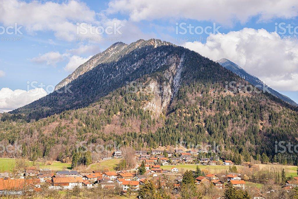 View to mountains in Bavaria Alps stock photo