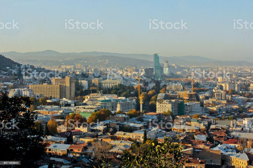 View to Mtatsminda distric of the capital of Republic of Georgia. stock photo
