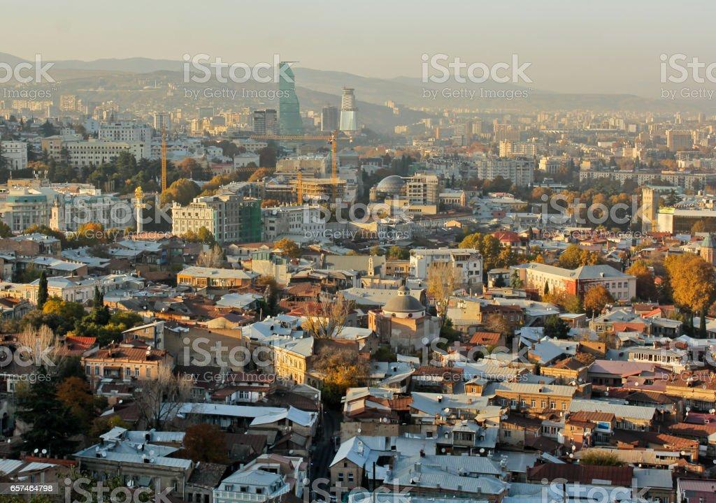 View to Mtatsminda distric of the capital of Republic of Georgia stock photo