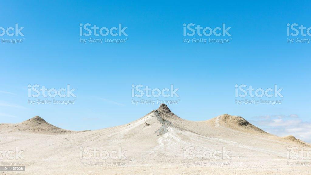View to mud volcanoes stock photo