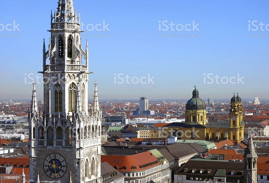 View to Munich's New Town Hall and Theatinerkirche royalty-free stock photo