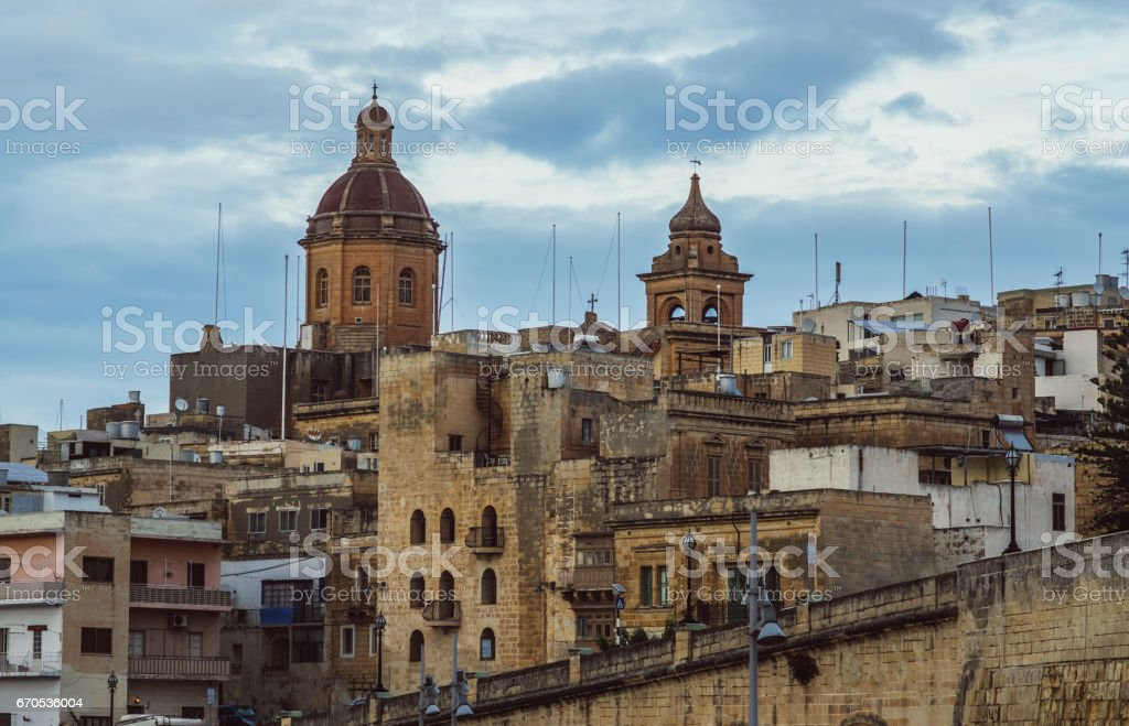 View to old city and St. Lawrence's Church in Il-Birgu stock photo