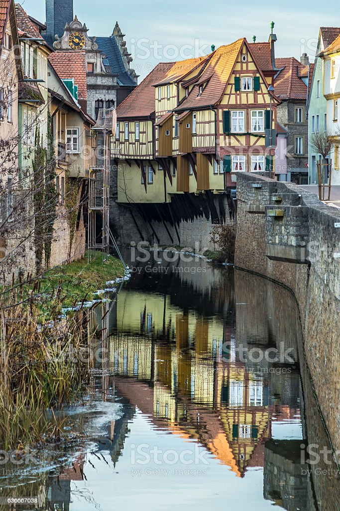 view to old half timbered houses in Marktbreit stock photo