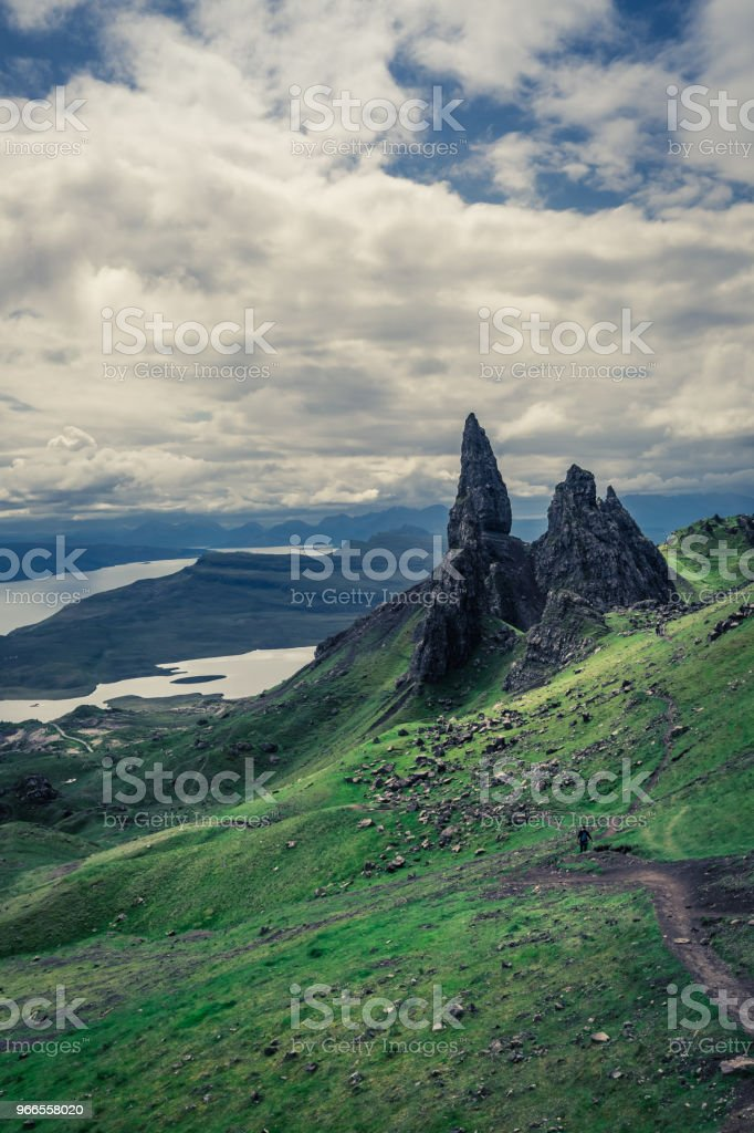 View to Old Man of Storr in green colors, Scotland stock photo