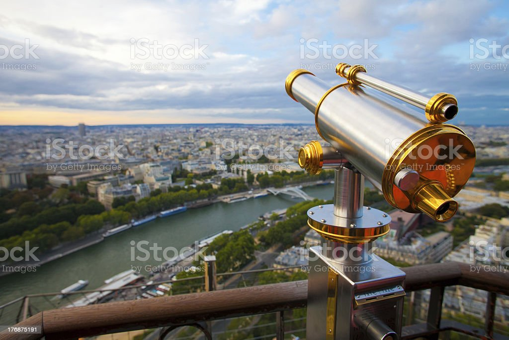 View to Paris and Seine from Effeil tower stock photo