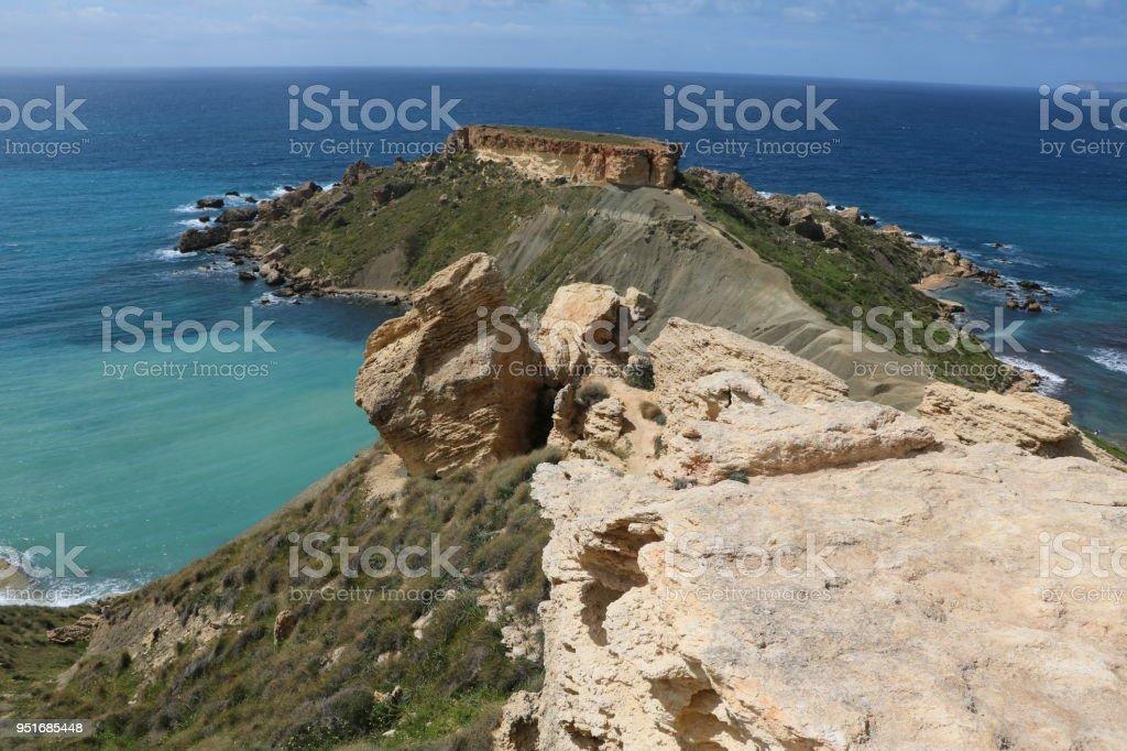 View to Peninsula between Gnejna Bay and Ghajn Tuffieha Bay, Mediterranean Sea Malta stock photo