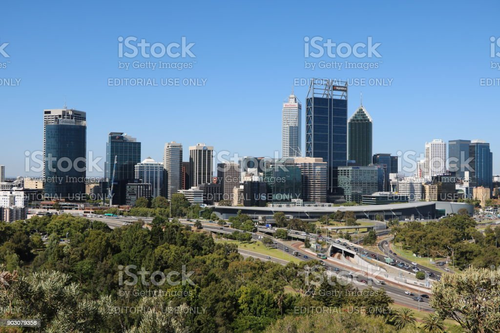 View to Perth at Swan River from Kings Park, Western Australia stock photo
