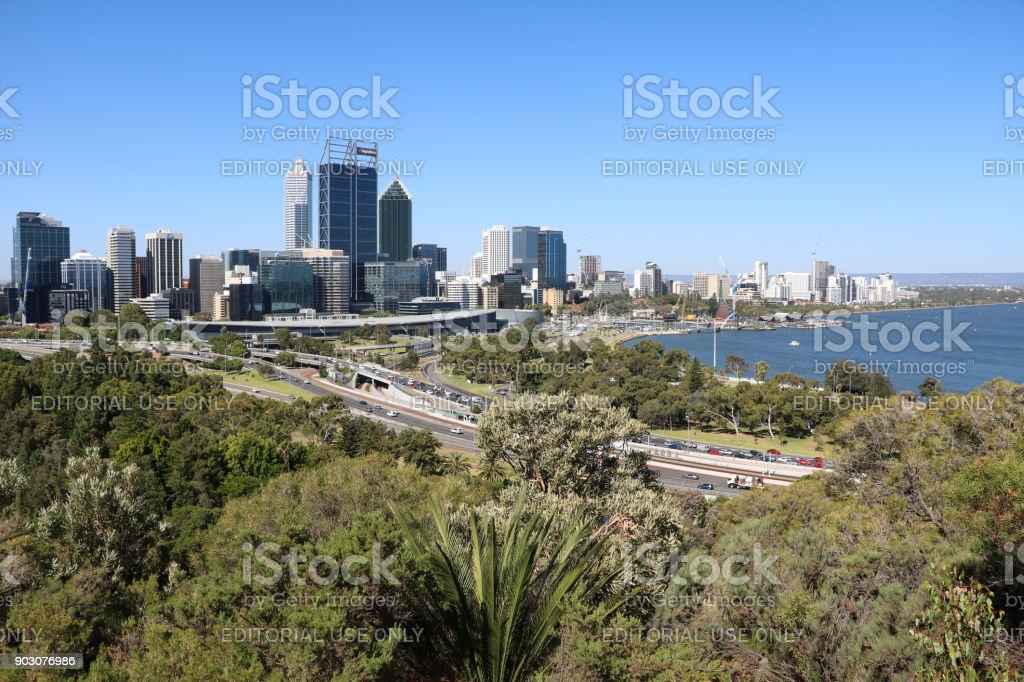 View to Perth at Swan Riverfrom Kings Park, Western Australia stock photo