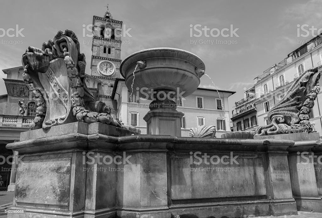 View to Piazza Santa Maria in Trastevere, Rome stock photo