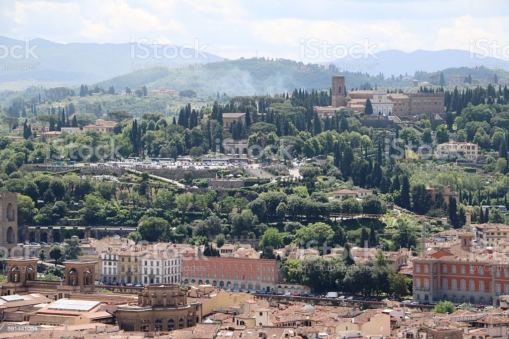 View to Piazzale Michelangelo from Duomo Santa Maria, Florence Italy stock photo