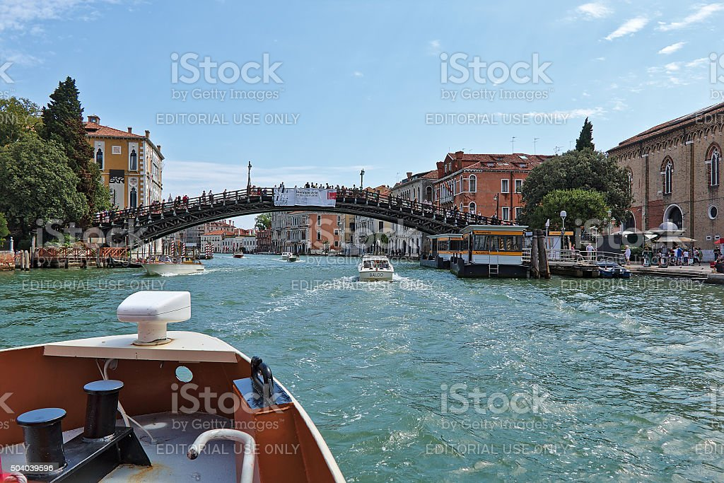 View to Ponte dell'Accademia in Grand Canal stock photo