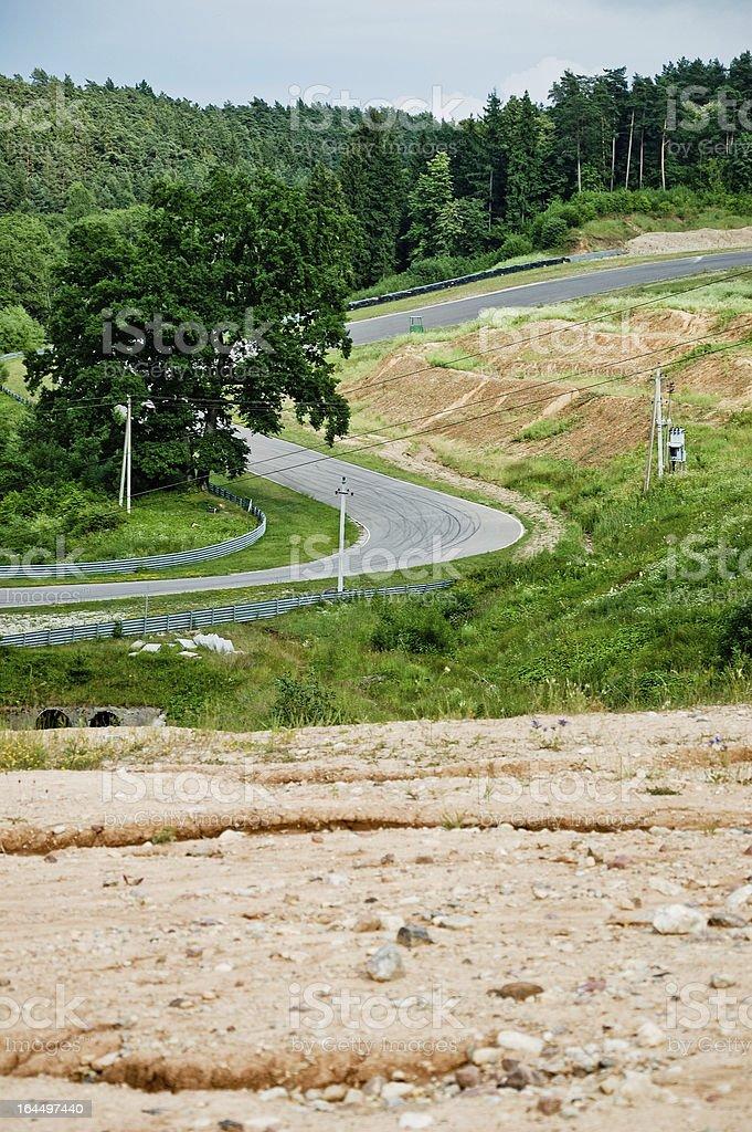 View to race tracks S shape corners royalty-free stock photo