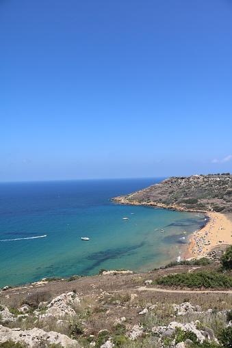 View to Ramla Bay Mediterranean Sea, Gozo Malta