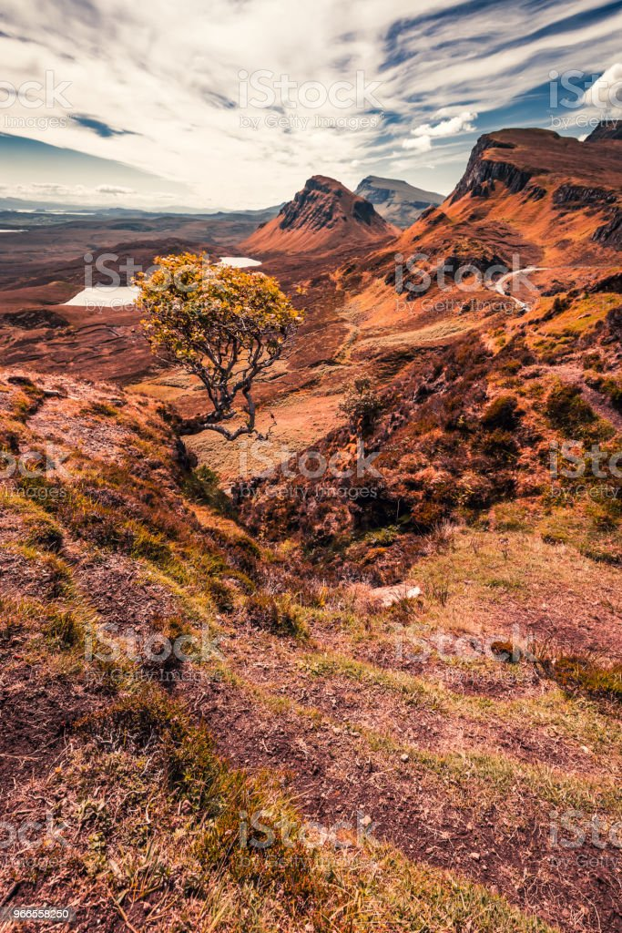 View to rusty valley in Quiraing, Scotland, UK stock photo