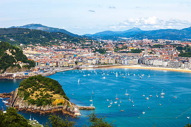 View to San Sebastian, Spain. stock photo