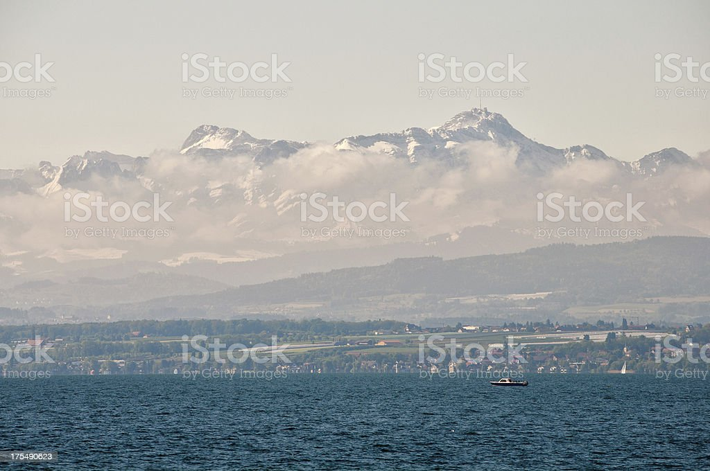 View to Santis covered with snow stock photo