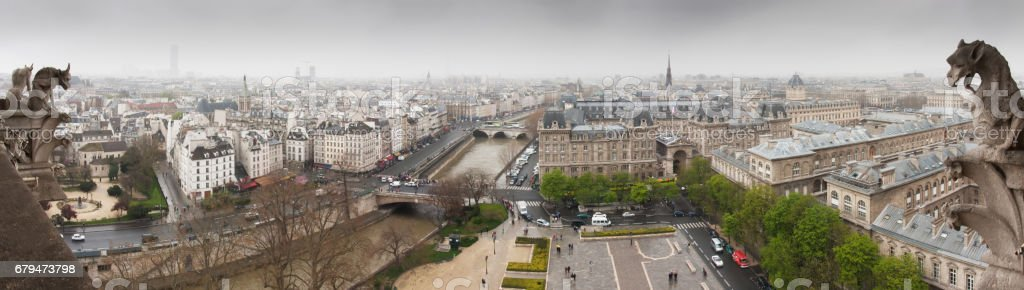 View to Seine from Notre-Dame de Paris royalty-free stock photo