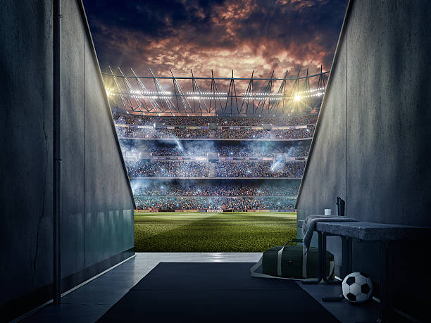 view to soccer stadium from players zone - soccer field stock photos and pictures