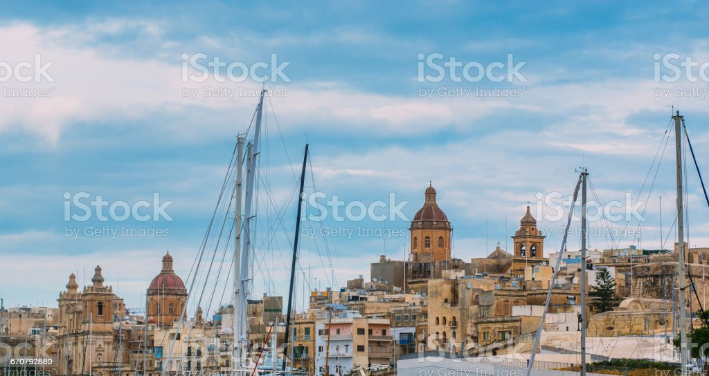 View to St. Lawrence's and Annunciation churches stock photo