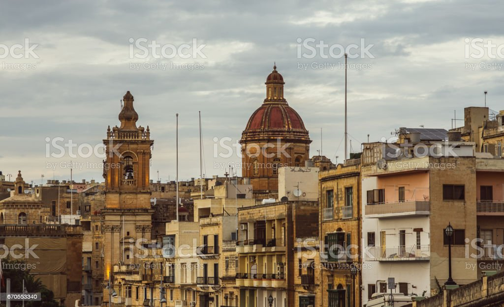 View to St. Lawrence's Church in Il-Birgu stock photo