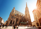 View to St. Stephen's Cathedral in Vienna, Austria on sunny day