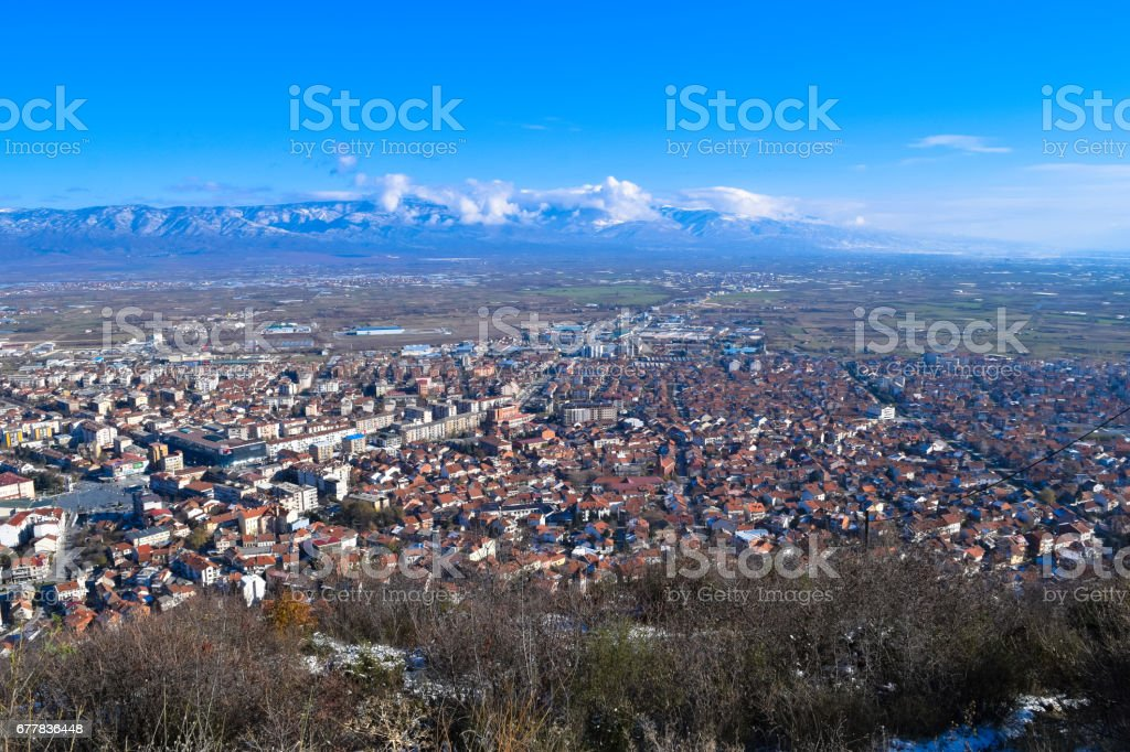 View to Strumica (Strumitsa) town in Macedonia royalty-free stock photo