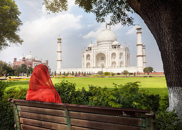 View to Taj Mahal stock photo