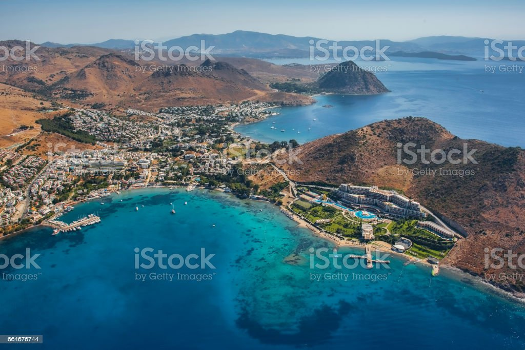 View to the Akyarlar Bodrum and Rabbit Island high angle view – Foto