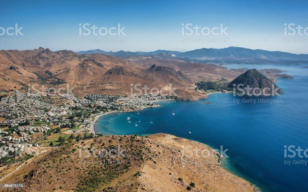 View to the Akyarlar Bodrum and Rabbit Island stok fotoğrafı