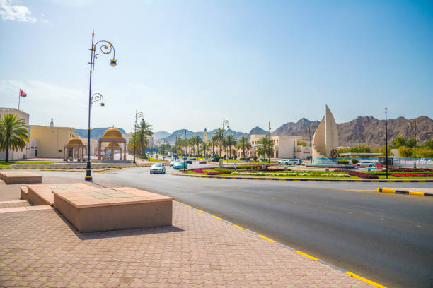View to the Al Mina Roundabout , Oman at the Al Bahri Road stock photo