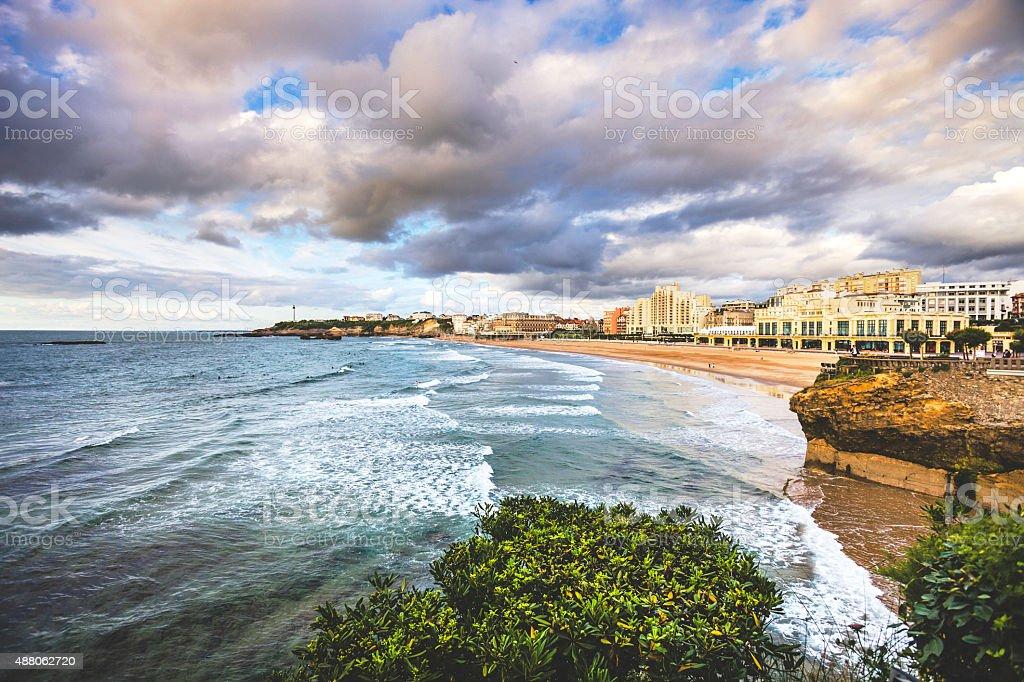 Vue sur la plage. Biarritz, France. - Photo