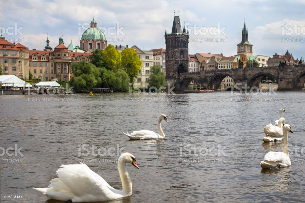 View to the Charles Bridge and St. Nikolaus Church in Prague stock photo