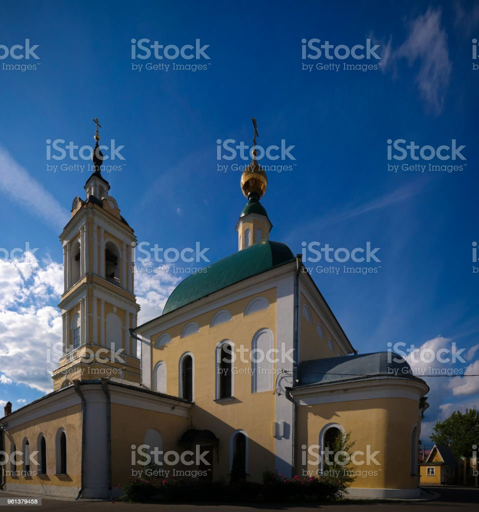 View to The Church Of St. Sergius Of Radonezh in Epiphany Staro-Golutvin cloister, Kolomna, Moscow region, Russia stock photo