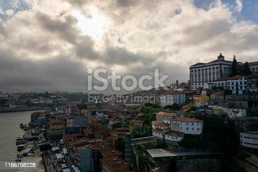 View to the city of Porto (Portugal) from D. Luis I bridge with cloudy sky