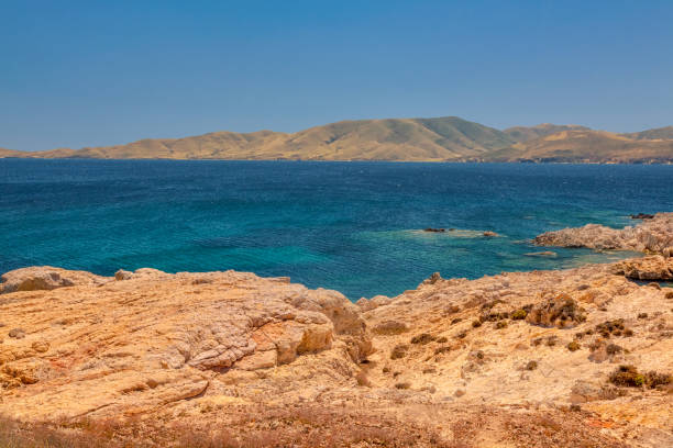 View to the coastline of Aegean sea in Lemnos, Greece stock photo