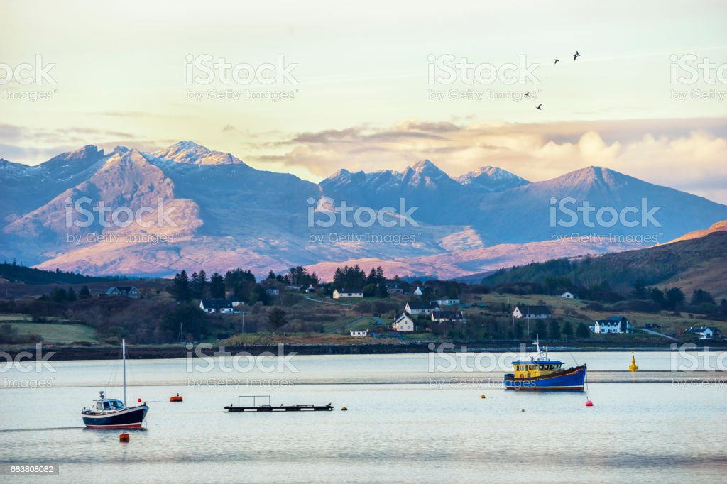 View to the Cuillins over Loch Portree, Isle of Skye stock photo