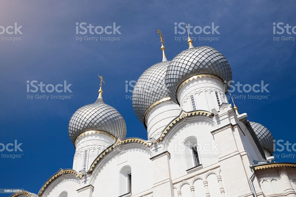 View to the domes of Rostov Kremlin royalty-free stock photo