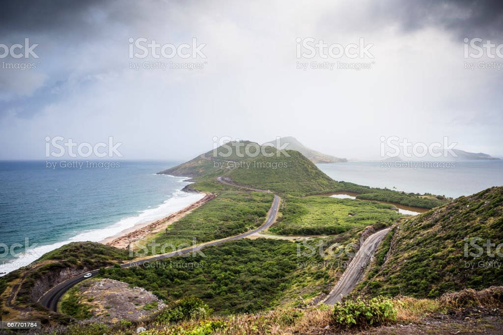 View to the eastern part of Saint Kitts island and to Nevis island from Timothy Hill stock photo