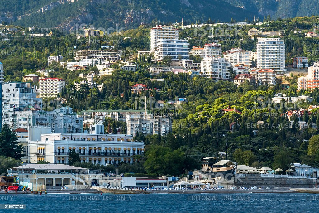 View to the embankment of Yalta from the sea stock photo