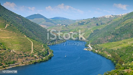 View to the famous Douro Valley in Portugal. The Alto Douro wine region is the oldest wine-growing region in the world and has been a UNESCO World Heritage Site since 2001.