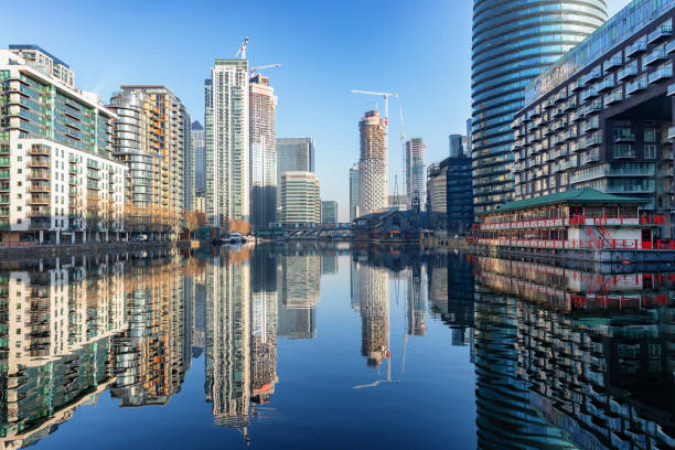 View to the financial skyscrapers of Canary Wharf in London, UK stock photo