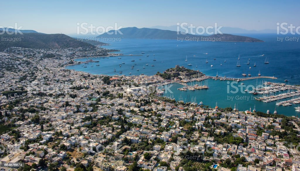 View to the Halicarnassus castle and yachts in Bodrum, Turkey. stok fotoğrafı