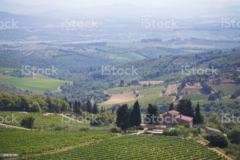 View to the hills of Tuscany stock photo
