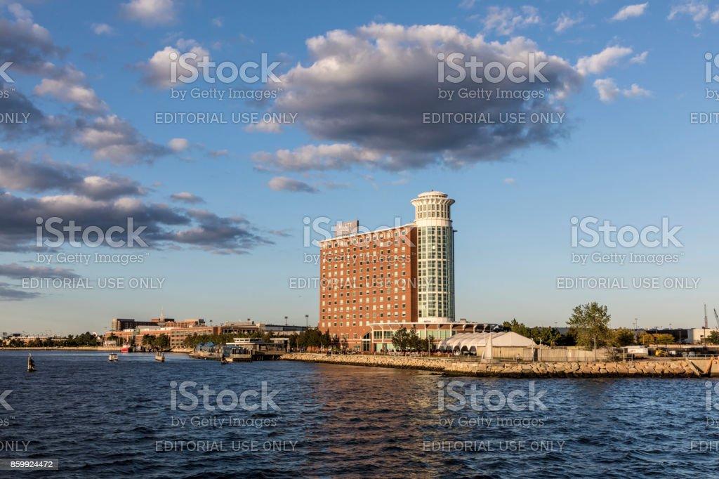 view to  the hotel Hyatt at airport Logan, Boston. stock photo