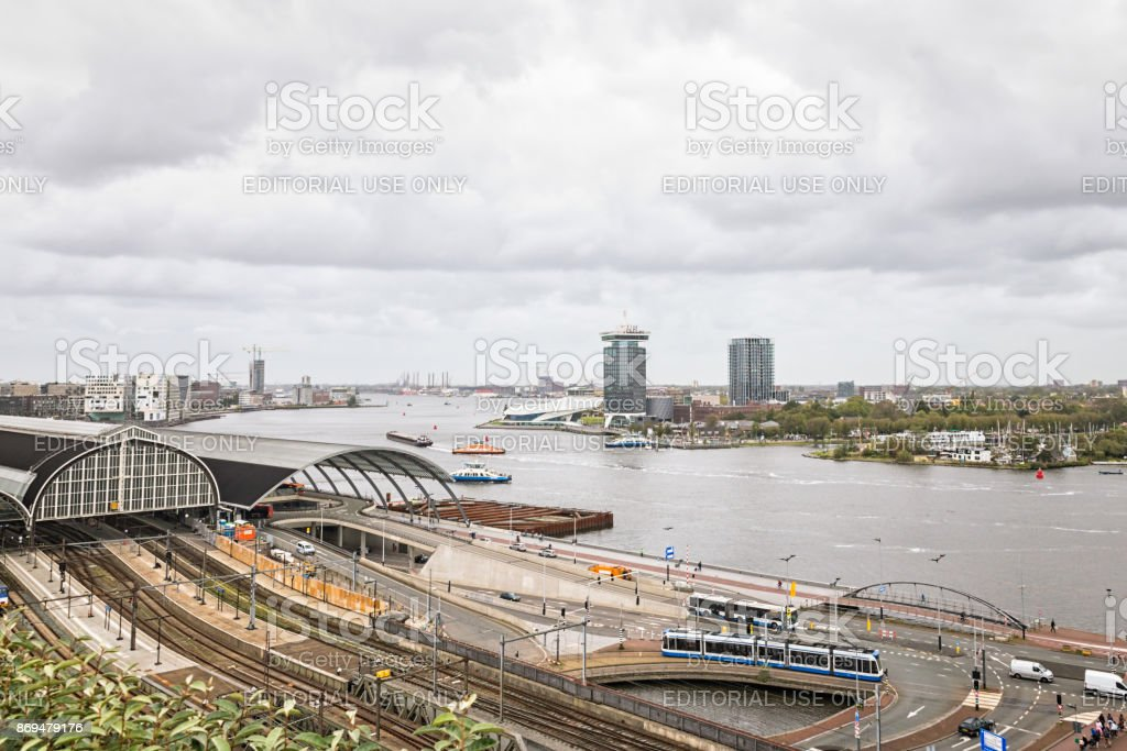 View to the IJ River with the landmarks of Amsterdam stock photo